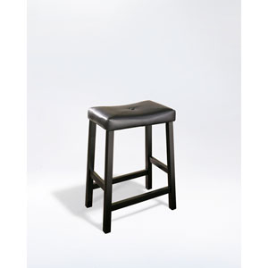 Upholstered Saddle Seat Bar Stool in Black Finish with 24 Inch Seat Height- Set of Two
