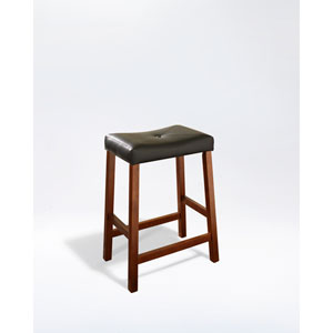 Upholstered Saddle Seat Bar Stool in Classic Cherry Finish with 24 Inch Seat Height- Set of Two