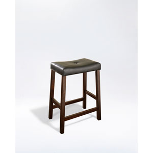 Upholstered Saddle Seat Bar Stool in Vintage Mahogany Finish with 24 Inch Seat Height- Set of Two