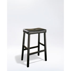 Upholstered Saddle Seat Bar Stool in Black Finish with 29 Inch Seat Height - Set of Two