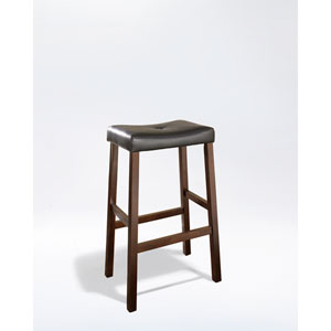 Upholstered Saddle Seat Bar Stool in Vintage Mahogany Finish with 29 Inch Seat Height- Set of Two