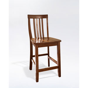 School House Bar Stool in Classic Cherry Finish with 24 Inch Seat Height- Set of Two