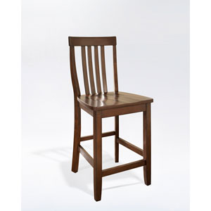 School House Bar Stool in Vintage Mahogany Finish with 24 Inch Seat Height- Set of Two