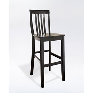 School House Bar Stool in Black Finish with 30 Inch Seat Height- Set of Two