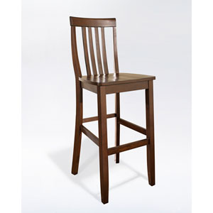 School House Bar Stool in Mahogany Finish with 30 Inch Seat Height- Set of Two