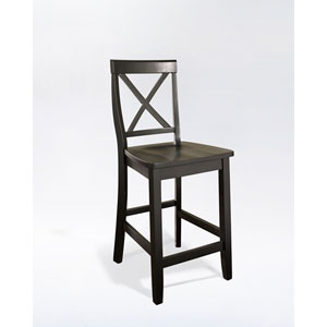 X-Back Bar Stool in Black Finish with 24 Inch Seat Height- Set of Two