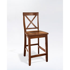 X-Back Bar Stool in Classic Cherry Finish with 24 Inch Seat Height- Set of Two