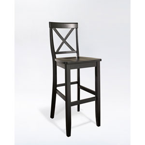 X-Back Bar Stool in Black Finish with 30 Inch Seat Height- Set of Two