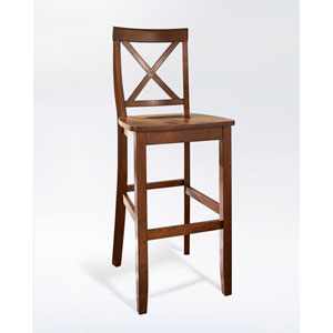 X-Back Bar Stool in Classic Cherry Finish with 30 Inch Seat Height- Set of Two