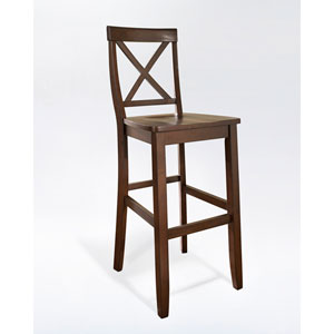 X-Back Bar Stool in Mahogany Finish with 30 Inch Seat Height- Set of Two