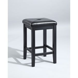 Upholstered Square Seat Bar Stool in Black Finish with 24 Inch Seat Height- Set of Two