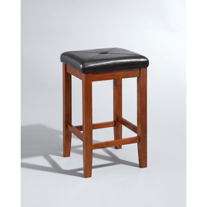 Upholstered Square Seat Bar Stool in Classic Cherry Finish with 24 Inch Seat Height- Set of Two