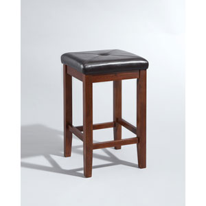 Upholstered Square Seat Bar Stool in Vintage Mahogany Finish with 24 Inch Seat Height- Set of Two