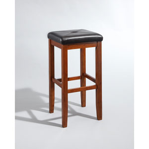 Upholstered Square Seat Bar Stool in Classic Cherry Finish with 29 Inch Seat Height- Set of Two