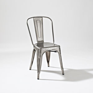 Amelia Metal Cafe Chair in Galvanized, Set of Two