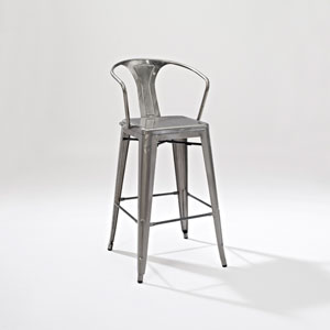 Amelia Metal Cafe Barstool with Back in Galvanized, Set of Two
