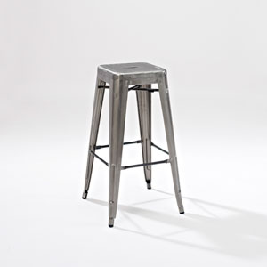 Amelia Metal Cafe Barstool in Galvanized, Set of Two