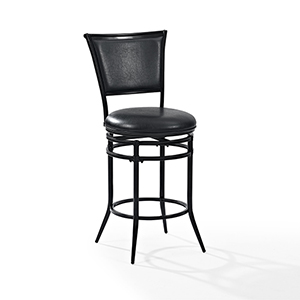 Rachel Swivel Counter Stool in Black With Black Cushion