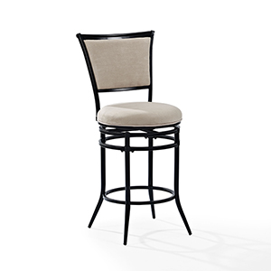 Rachel Swivel Counter Stool in Black With White Cushion