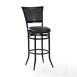 Rachel Swivel Bar Stool in Black With Black Cushion