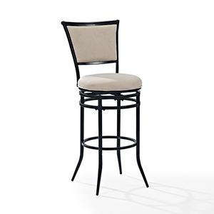 Rachel Swivel Bar Stool in Black With White Cushion