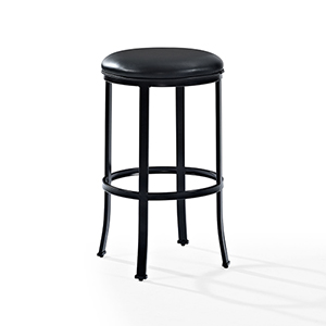 Windsor Bar Stool in Black With Black Cushion