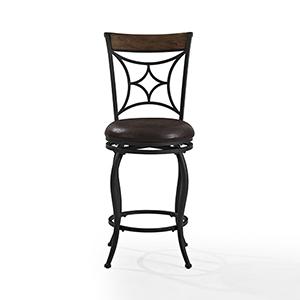 Kayden Counter Stool in Black With Dark Caramel Cushion