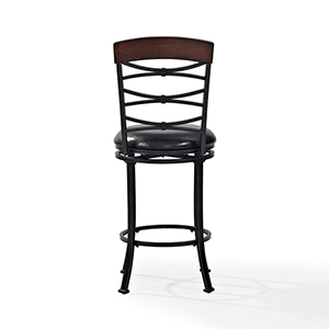 Highland Swivel Counter Stool in Black Gold With Black Cushion