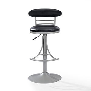 Jasper Swivel Counter Stool in Platinum With Black Cushion