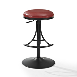 Jasper Backless Swivel Counter Stool in Black With Red Cushion