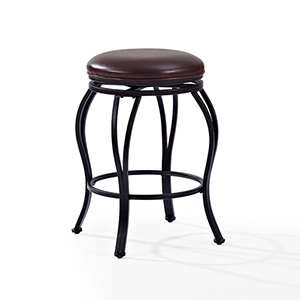 Kemper Swivel Counter Stool in Black With Brown Cushion