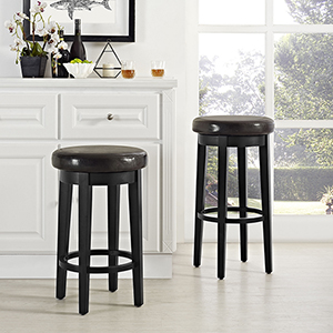 Mitchell Swivel Counter Stool in Black With Brown Cushion Set Of 2