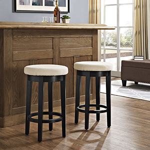 Mitchell Swivel Counter Stool in Black With Creme Cushion Set Of 2