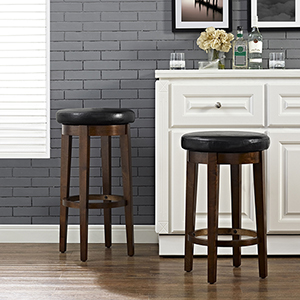 Mitchell Swivel Counter Stool in Mahogany With Black Cushion Set Of 2