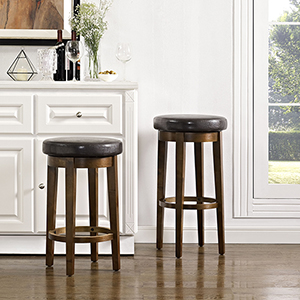 Mitchell Swivel Counter Stool in Mahogany With Brown Cushion Set Of 2