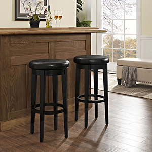 Mitchell Swivel Bar Stool in Black With Black Cushion Set Of 2