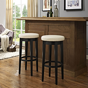 Mitchell Swivel Bar Stool in Black With Creme Cushion Set Of 2