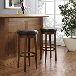 Mitchell Swivel Bar Stool in Mahogany With Brown Cushion Set Of 2