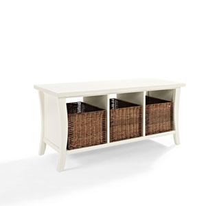 Wallis White Entryway Storage Bench