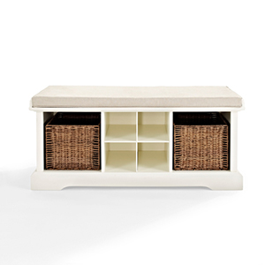 Brennan White Entryway Storage Bench
