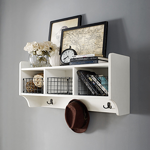 Fremont Entryway Shelf in Distressed White