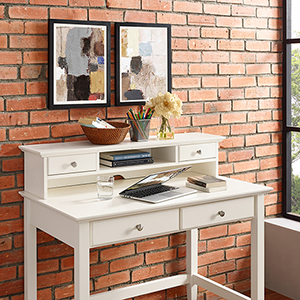 Campbell Writing Desk Hutch in White Finish