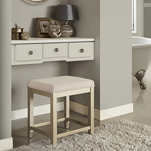 Vista Vanity Stool in Distressed Gold With Creme Linen Seat