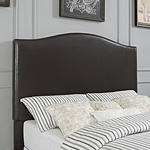 Bellingham Camelback Upholstered Full or Queen Headboard in Brown Leatherette