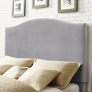 Bellingham Camelback Upholstered Full or Queen Headboard in Shale Microfiber
