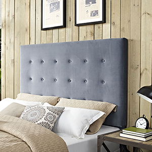 Reston Square Upholstered King or Cal King Headboard in Cornflower Microfiber