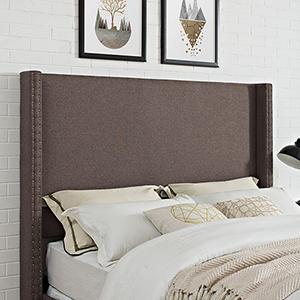 Casey Wingback Upholstered Full or Queen Headboard in Bourbon Linen