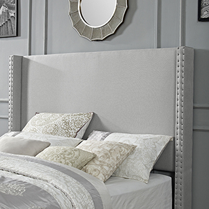 Casey Wingback Upholstered Full or Queen Headboard in Dove Gray Linen