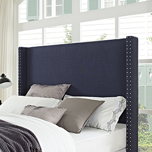 Casey Wingback Upholstered Full or Queen Headboard in Navy Linen
