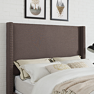 Casey Wingback Upholstered King or Cal King Headboard in Bourbon Linen